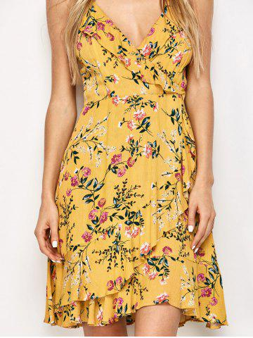 Hot Ruffled Cami Floral Skater Dress - L YELLOW Mobile