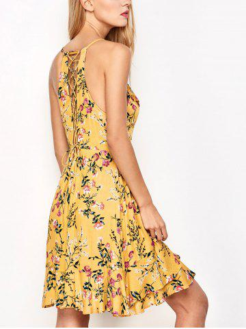 Cheap Ruffled Cami Floral Skater Dress - L YELLOW Mobile