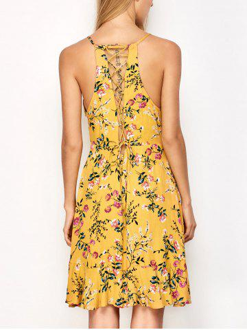 Affordable Ruffled Cami Floral Skater Dress - L YELLOW Mobile