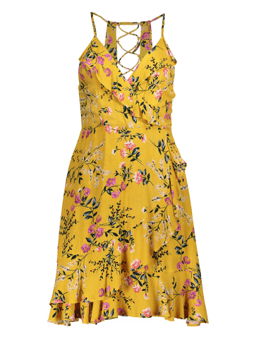 Online Ruffled Cami Floral Skater Dress - L YELLOW Mobile