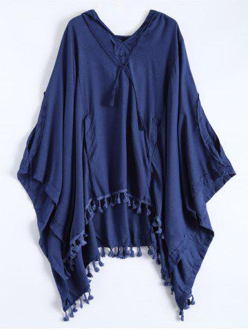 Fashion The Endless Hooded Poncho DEEP BLUE S