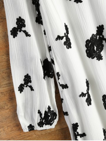 Womens Long Sleeve Floral Embroidered Tunic Dress - S WHITE Mobile