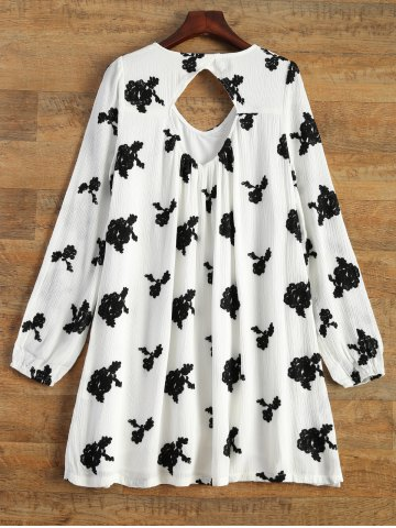 Store Long Sleeve Floral Embroidered Tunic Dress - S WHITE Mobile