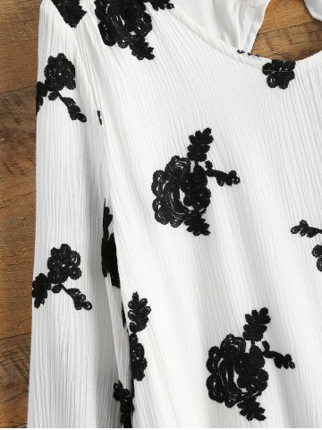 Lady Long Sleeve Floral Embroidered Tunic Dress - S WHITE Mobile
