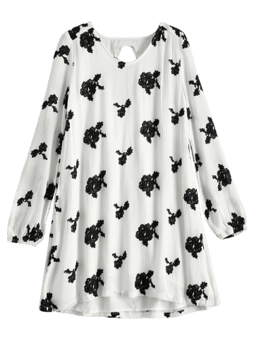 Latest Long Sleeve Floral Embroidered Tunic Dress - S WHITE Mobile