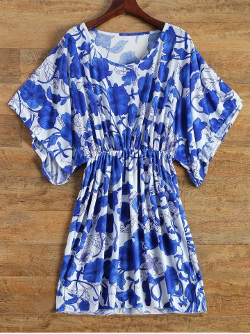 Fashion Vintage Porcelain Print Loose Midi Dress