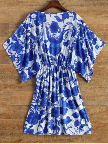 Outfit Vintage Porcelain Print Loose Midi Dress - ONE SIZE(FIT SIZE XS TO M) BLUE AND WHITE Mobile