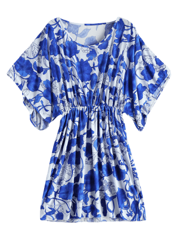 Unique Vintage Porcelain Print Loose Midi Dress - ONE SIZE(FIT SIZE XS TO M) BLUE AND WHITE Mobile