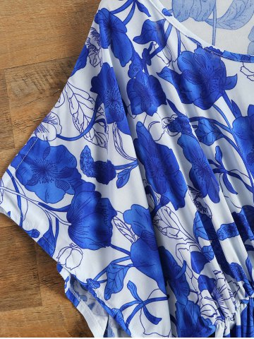 Online Vintage Porcelain Print Loose Midi Dress - ONE SIZE(FIT SIZE XS TO M) BLUE AND WHITE Mobile