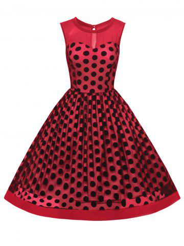Unique Summer Retro Polka Dot Mesh Yarn Insert Dress RED 2XL