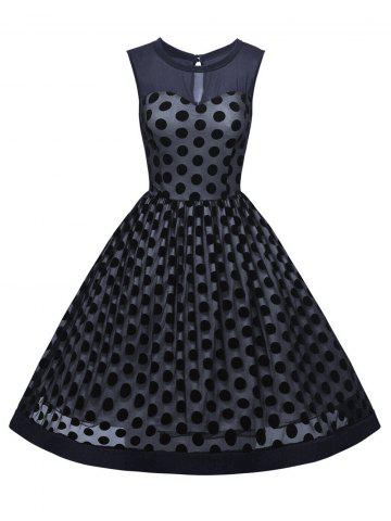 Buy Summer Retro Polka Dot Mesh Yarn Insert Dress PURPLISH BLUE 2XL