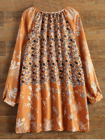 Outfit Bohemian V-Neck Tiny Floral Print Tunic Dress - L YELLOW Mobile