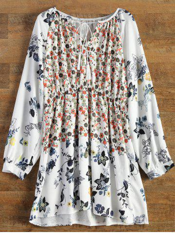 Unique Bohemian V-Neck Tiny Floral Print Tunic Dress