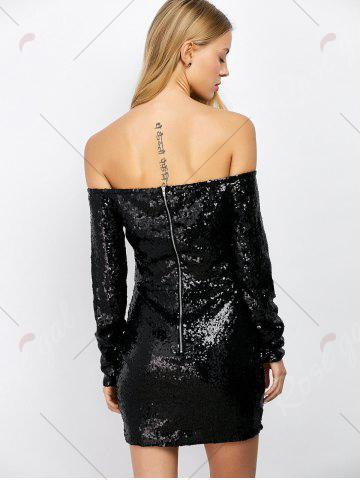Cheap Off Shoulder Sequin Long Sleeve Glitter Sparkly Tight Dress - M BLACK Mobile