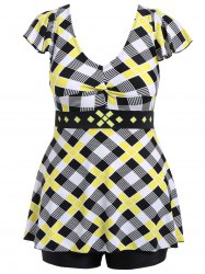 Plus Size Ruched Plaid Swimwear