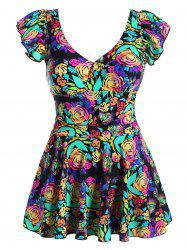 Floral Print Ruffled Plus Size Swimwear