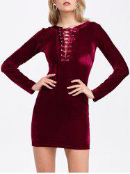 Velvet Lace-Up Long Sleeve Short Bodycon Dress