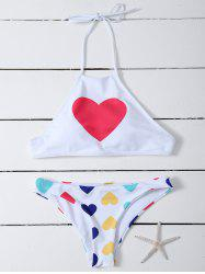 High Neck Heart Pattern Bikini