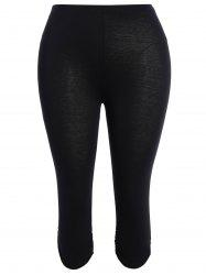 Plus Size Supper Stretchy Ruched Capri Sporty Pants - BLACK