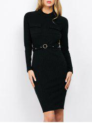 Mock Neck Bodycon Dress  With Belt - BLACK