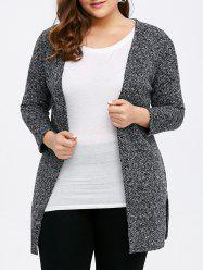 Plus Size Collarless Cardigan - GRAY