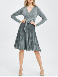 Long Sleeve Surplice Metallic Jumper Dress