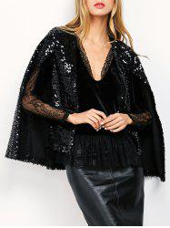 Open Front Sequin Cape Coat - BLACK