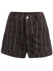 Wool Blend High Waisted Plus Size Plaid Shorts