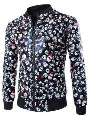Skull Print Zip Up Faux Leather Jacket -