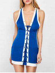 Plunging Neck Lace-Up Mini Bodycon Dress