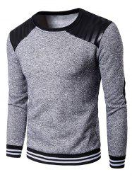 Elbow Patch PU Panel Crew Neck Sweatshirt - LIGHT GRAY