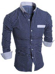 Long Sleeve Checked Button Down Casual Shirt - CADETBLUE