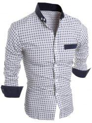 Long Sleeve Checked Button Down Casual Shirt - WHITE