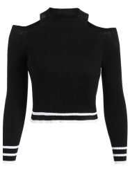 Cold Shoulder Cropped Jumper - BLACK
