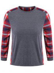 Plus Size Plaid Crew Neck T-Shirt