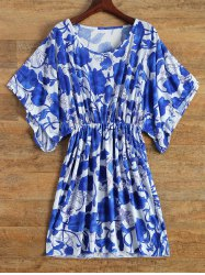 Vintage Porcelain Print Loose Midi Dress