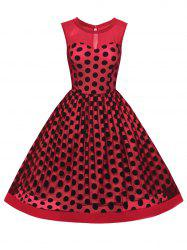 Summer Retro Polka Dot Mesh Yarn Insert Dress