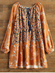 Bohemian V-Neck Tiny Floral Print Tunic Dress