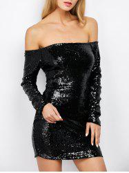 Off Shoulder Sequin Long Sleeve Glitter Sparkly Tight Dress - BLACK S