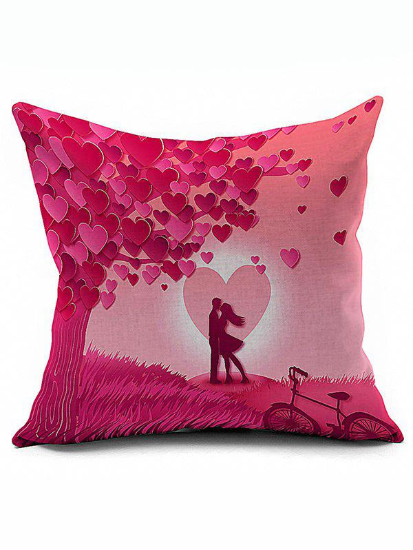 Heart Valentine Couples Design Pillow CaseHOME<br><br>Color: PINK; Material: Polyester / Cotton; Fabric Type: Velboa; Pattern: Heart; Style: Modern/Contemporary; Shape: Square; Size(CM): 45*45; Weight: 0.140kg; Package Contents: 1 x Pillow Case;