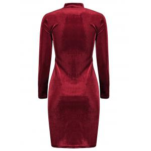 Stand Neck Long Sleeve Velvet Dress - WINE RED ONE SIZE