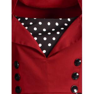 Polka Dot Retro Corset A Line Dress - WINE RED 3XL
