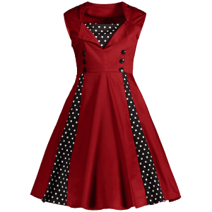 Polka Dot Retro Corset A Line Dress - WINE RED 2XL
