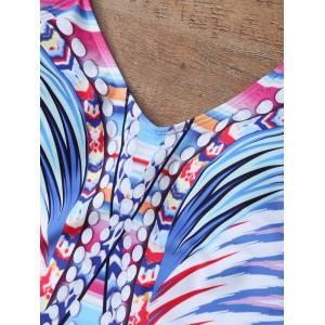 Graphic Print Low Back Cami Swimsuit - MULTICOLOR XL