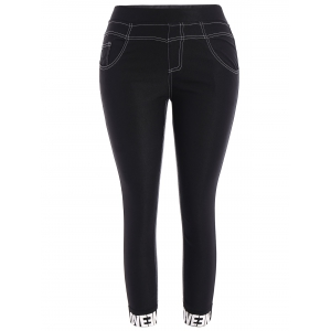 Plus Size Skinny Graphic Hem Pencil Pants - Black - 2xl