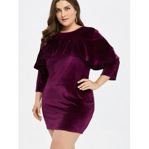 Plus Size Velvet Mini Sheath Dress - PURPLISH RED XL