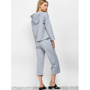Hooded Top and Scrub Wide Leg Pants Twinset - GRAY M