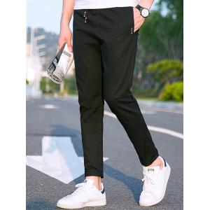 Pocket Narrow Feet Drawstring Casual Pants -