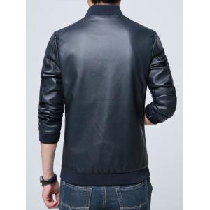 Pocket Zippered Faux Leather Jacket - CADETBLUE L