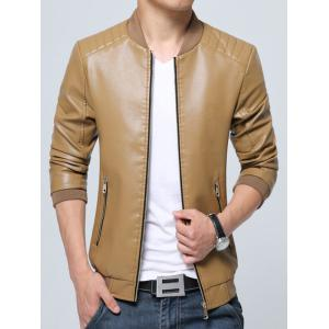 Pocket Zippered Faux Leather Jacket - KHAKI L